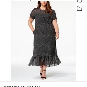 Betsey Johnson black with white polka dot dress